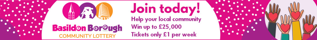 Decorative image advertising the Basildon Borough Community Lottery