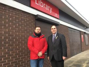 Decorative image showing Councillors Gavin Callaghan and Kerry Smith outside Vange Library