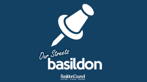 Decorative image showing the  brand logo for the Our Streets Basildon phone app
