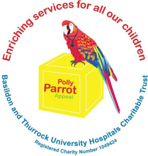 Image of brand logo of the Polly Parrot Appeal in support of children in Basildon and Thurrock University Hospital