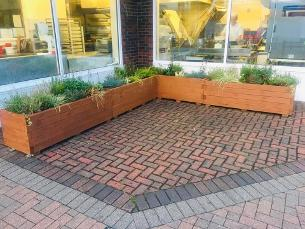 Decorative image showing a planter outside Cossons Bakery in Wickford