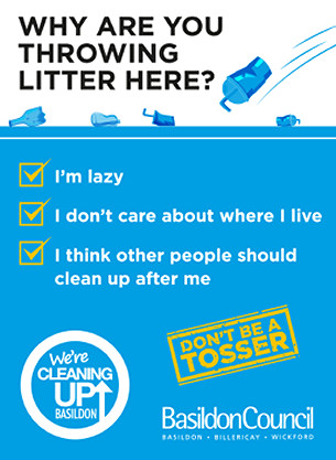 We-re Cleaning Up campaign poster -  Don't be a tosser - We're cleaning up campaign 2020 - Basildon Borough Council