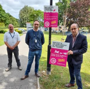 Installing park signage - We're Cleaning Up 2020 - Basildon Borough Council