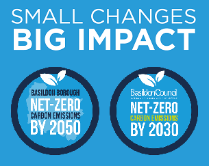 Graphic image promoting Climate Change Basildon 2030, Small changes, Big impact