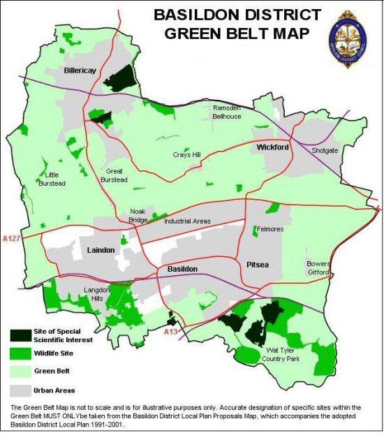 Large Green Belt map of Basildon District