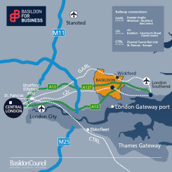 Image showing a map of Basildon Borough's proximity to London and nearby road, rail, air and sea links