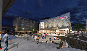 A view of proposed East Square development including Empire Cinema (nighttime)
