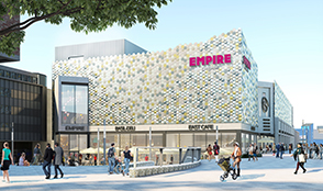 A view of proposed East Square development including Empire Cinema (daytime)