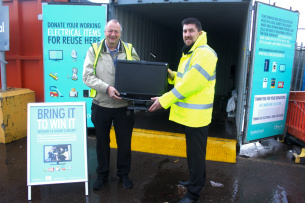 Image - Photo of Basildon Councillor Kevin Blake with the Council's Waste Management Officer, Alan Underdown, promoting the council's Bring It To Win It recycling competition in December 2018
