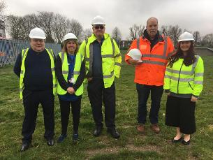 Photo showing Basildon councillors and partners meeting on site in Nevendon Recreation Ground ahead of the start of works to build a brand new Wickford Community Centre