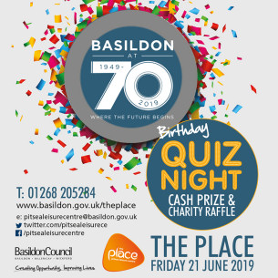 Basildon at 70 - Quiz Night at The Place, Pitsea. Cash Prize and Charity Raffle