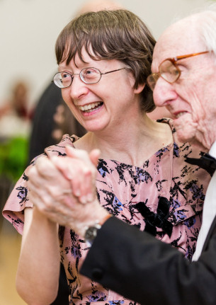 Image from the Basildon at 70 Vintage Tea Dance in May 2019, shows man and woman seniors enjoying a dance together