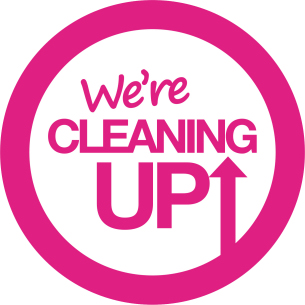 Decorative image showing the brand logo for the We're Cleaning Up campaign - shows a large circle containing the wording 'We're Cleaning Up'