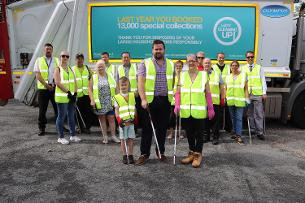 Image showing Councillor Callaghan and residents at launch of cleaning up campaign
