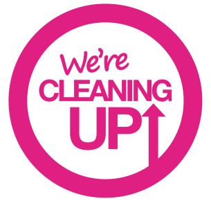 Image showing the brand logo for the We're Cleaning Up campaign - shows a large circle containing the wording 'We're Cleaning Up'