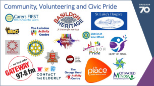 Decorative image showing the logos of various Community, Voluntary and Civic Pride groups and organisations who have actively supported the Basildon at 70 celebrations.