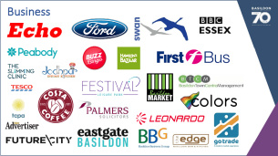 Decorative image showing the logos of various businesses which have actively supported the Basildon at 70 celebrations.