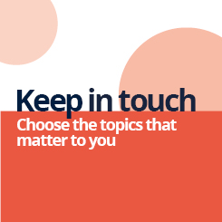 Image promoting sign-up for Keep In Touch with E-News